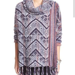 Free People 'Be the One' fringe poncho sweater